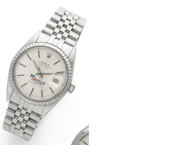 Rolex. A stainless steel automatic centre seconds calendar bracelet watch with special order 'United Guaranty' dial Datejust, Ref:16030, Case No.6117708, Movement No.0260291, Circa 1979
