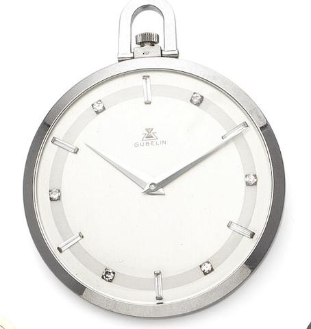 Gubelin. A fine platinum and diamond set open face manual wind pocket watch Case numbered 130015, Circa 1930