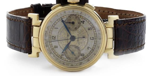 Longines. A fine and rare 18ct gold manual wind chronograph wristwatch with hinged lugs Movement No.5479816, Circa 1940