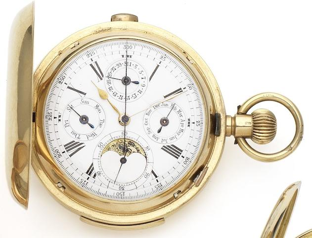 Swiss. An 18ct gold full hunter triple calendar minute repeating pocket watch with phases of the moon London Import mark for 1867