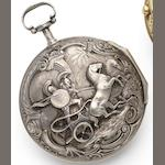 Le Roy. A late 18th century silver pair cased repeating pocket watch Circa 1760