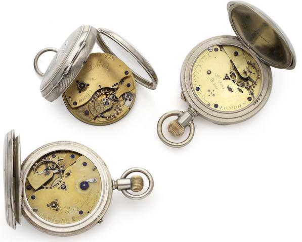 A lot of three open face pocket watches with chronometer movements