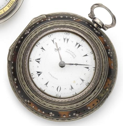 George Johnson. A silver and tortoiseshell triple pair case pocket watch for the Turkish market London Hallmark for 1815