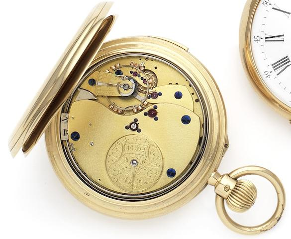 Unsigned. A fine 18ct gold minute repeating full hunter pocket watch with case made by Frederick ThomsCase and movement numbered 40394, London Hallmark for 1919