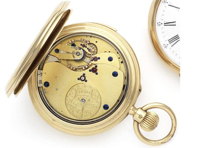 Unsigned. A fine 18ct gold minute repeating full hunter pocket watch with case made by Frederick Thoms  Case and movement numbered 40394, London Hallmark for 1919