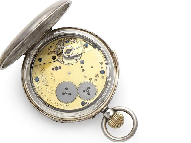 James McCabe. A late 18th century silver case quarter repeating pocket watch Circa 1790, Numbered 08700, Later case with Birmingham Hallmark for 1876