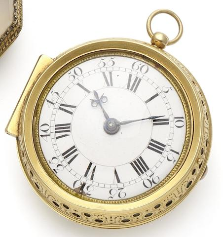 William Tomlinson. A fine and rare early 18th century 22ct gold pair case clock watch London Hallmark under the bell for 1713, Case maker's mark for William Sherwood