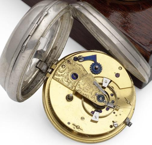 An unsigned silver open face pocket watch with chronometer movement Circa 1800