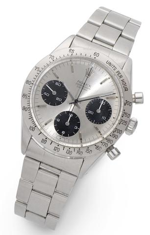 Rolex. A stainless steel manual wind chronograph bracelet watchDaytona, Ref:6239, Case No.1463433, Circa 1963