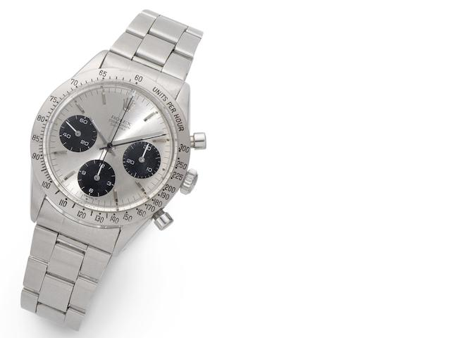 Rolex. A stainless steel manual wind chronograph bracelet watch Daytona, Ref:6239, Case No.1463433, 1963