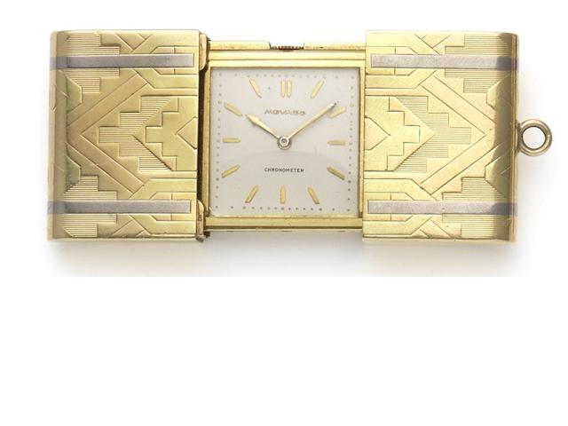 Movado. A three colour 18ct gold sliding purse watch  Case numbered 1192904, London Import mark for 1935