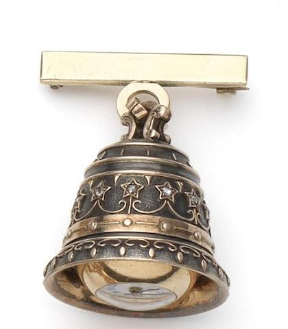 Swiss. A silver form watch in the shape of a bell with gold mounts and set with rose-cut diamonds together with a suspension bar brooch Circa 1900