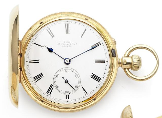 Dent. An early 19th century fine 18ct gold full hunter pocket watch Case and movement numbered 30696, London hallmark for 1890