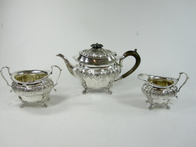A Victorian three piece silver bachelor's tea service By Thomas Blagden & Co, Sheffield 1894