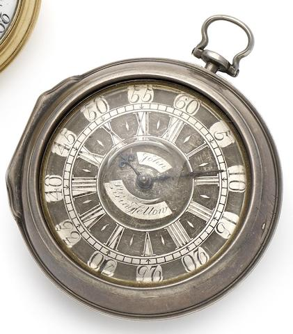 John Rainsford. An early 18th century silver pair cased pocketwatch Circa 1730