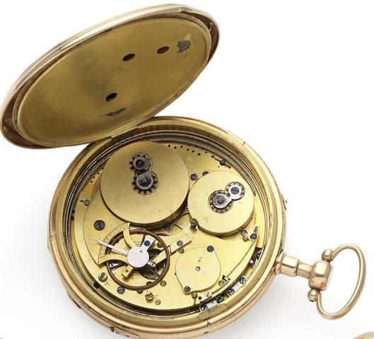 Swiss. A late 18th century fine continental gold musical open face pocket watch Case numbered 1384, Circa 1795