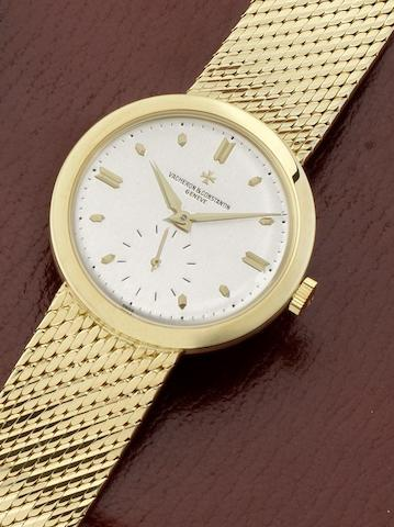 Vacheron Constantin. A fine 18ct gold manual wind bracelet watch Chronometer Royal, Case No.359362, London Hallmark for 1957