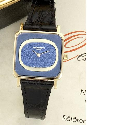 Patek Philippe. A lady's 18ct gold manual wind wristwatch together with box and Certificate of Origin Ellipse, Ref:4183, Case No.2758153, Movement No. 1273131, Sold 30th of March 1977