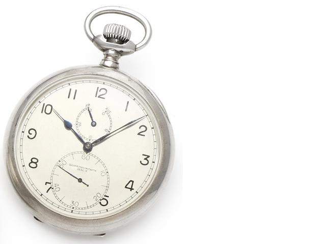 Vacheron & Constantin. A fine silver open face deck watch with up and down dial