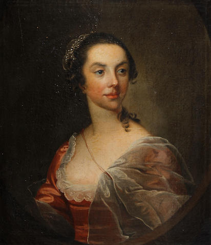 Circle of Thomas Hudson (Devon 1701-1779 Twickenham) Portrait of a lady in red dress; Portrait of a gentleman with blue waistcoat and stock each 70 x 61cm (27 9/16 x 24in) (2).