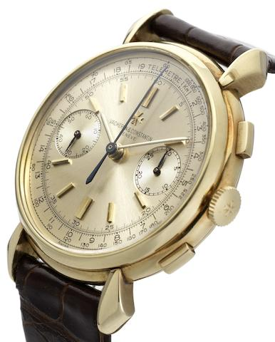 Vacheron Constantin. A very fine and rare 18ct gold manual wind chronograph wristwatchRef:4178, Movement No.437496, Case No.283901, Made in 1944