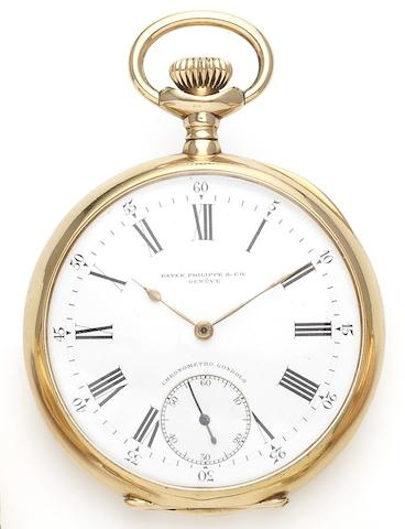 Patek Philippe. A fine 18ct gold manual wind open faced pocket watch together with fitted boxChronometro Gondolo, Movement No.151979, Case No.255284, Patented January 13th 1891