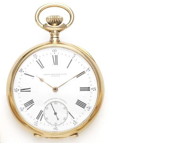 Patek Philippe. A fine 18ct gold manual wind open faced pocket watch together with fitted box Chronometro Gondolo, Movement No.151979, Case No.255284, Patented January 13th 1891