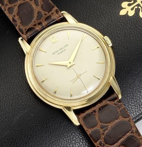 Patek Philippe. A fine and rare 18ct gold manual wind wristwatch Disco-Volante, Ref:2525-1, Case No.690870, Movement No.745148, Circa 1950