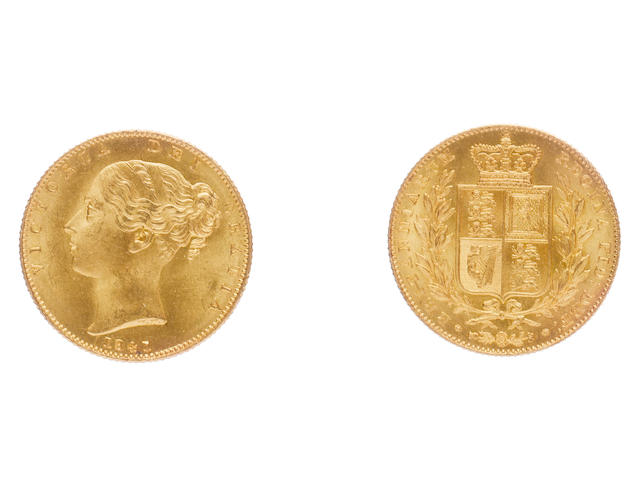 Victoria, Sovereign, 1841, first smaller young head, date below, WW incuse on truncation,