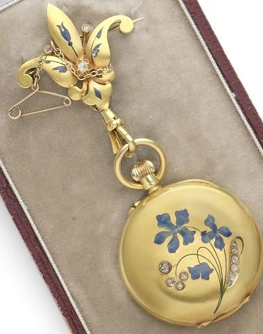 U. Montandon Robert. A late 19th Century 18ct gold diamond and enamel set half hunter lady's fob watch pendant with original fitted retail box and spare glassCirca 1895