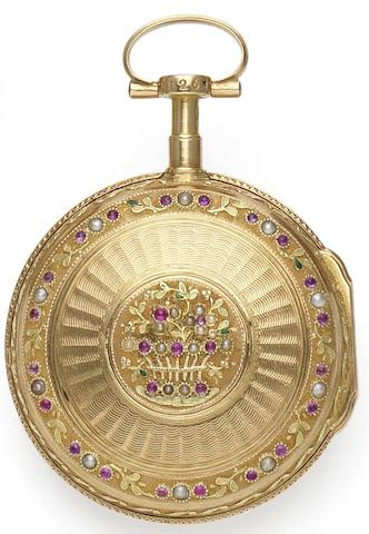 Micallef, Salvatore. A late 18th century key-wound open face gold pocket watch set with seed pearls and rubiesMalta, Circa 1790