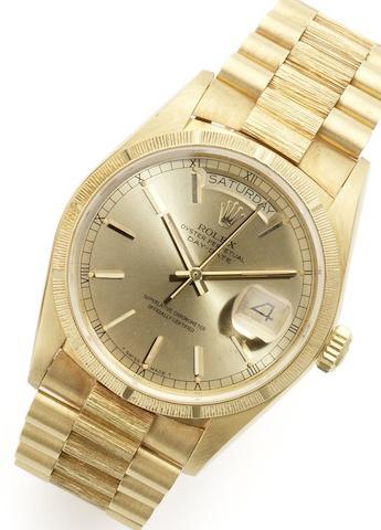 Rolex. A fine 18ct gold calendar automatic bracelet watch Day-Date, Ref:18078, Case No. 8610688, Circa 1984