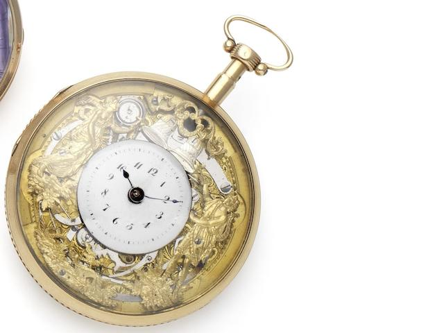 Swiss. An early 19th century fine continental gold Jaquemart repeating pocket watch Circa 1820