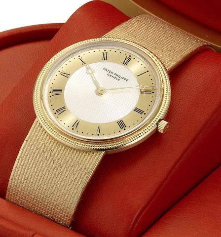 Patek Philippe. A fine 18ct gold manual wind bracelet watch Calatrava, Ref:3611, Case No.546699, Movement No.1330951, Sold 21 September 1982
