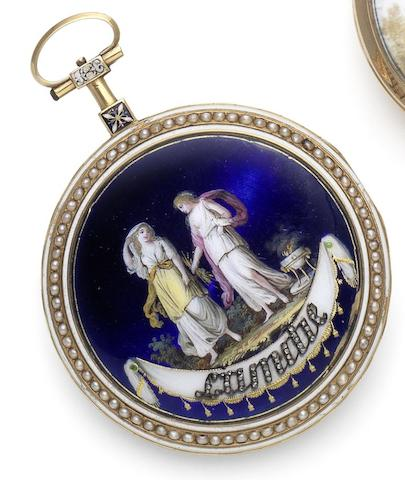 Gregson. A very fine and rare late 18th century gold and enamel open face pocket watch 'L'Amitie,' Circa 1790