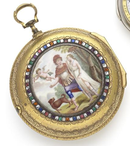 Silver & Twyford. A late 18th century gilt metal and enamel pair case Goliath pocket watch made for the Chinese MarketCirca 1795