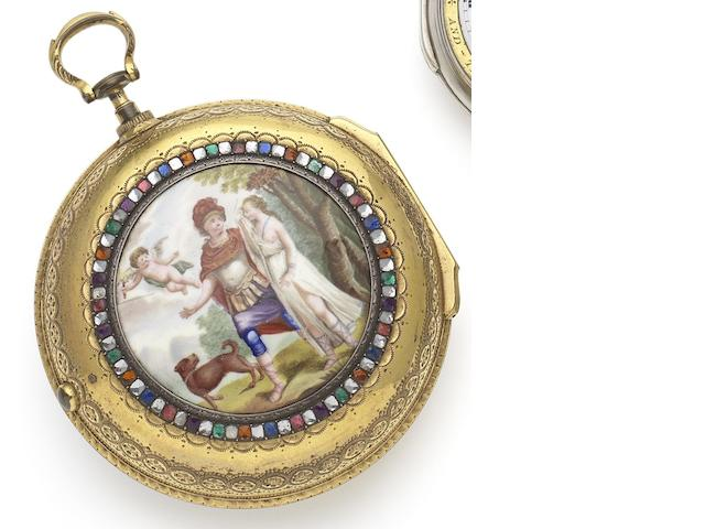 Silver & Twyford. A late 18th century gilt metal and enamel pair case Goliath pocket watch made for the Chinese Market Circa 1795