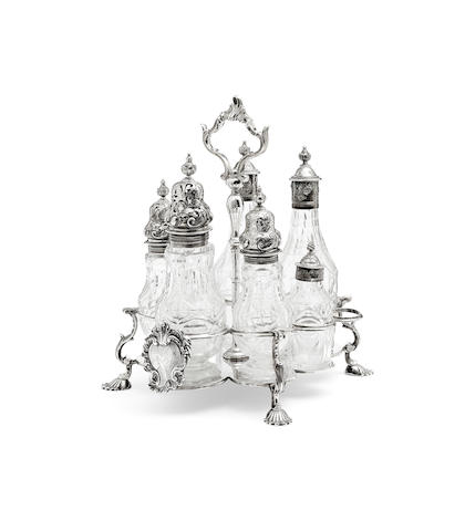 An early George III silver cruet stand Probably by John Delmester, London 1761