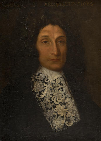 French School, late 17th Century Gentleman in a lace jabot
