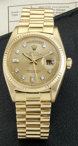 Rolex. An 18ct gold automatic calendar bracelet watchDay-date, Ref:1803, Case No.3421125, Circa 1974