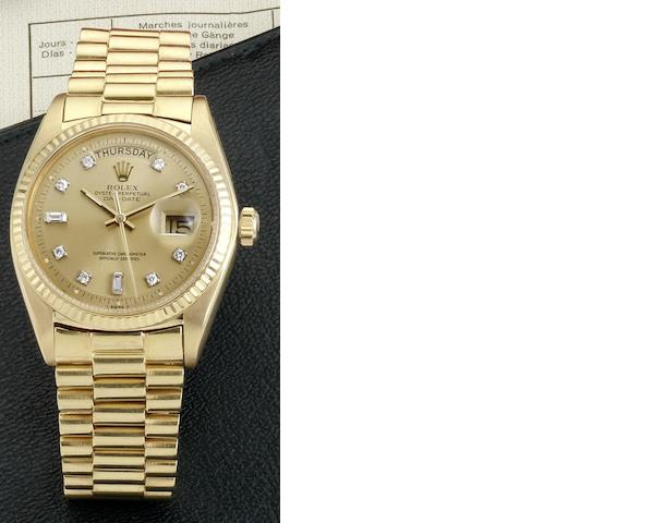 Rolex. An 18ct gold automatic calendar bracelet watch  Day-date, Ref:1803, Case No.3421125, Circa 1974