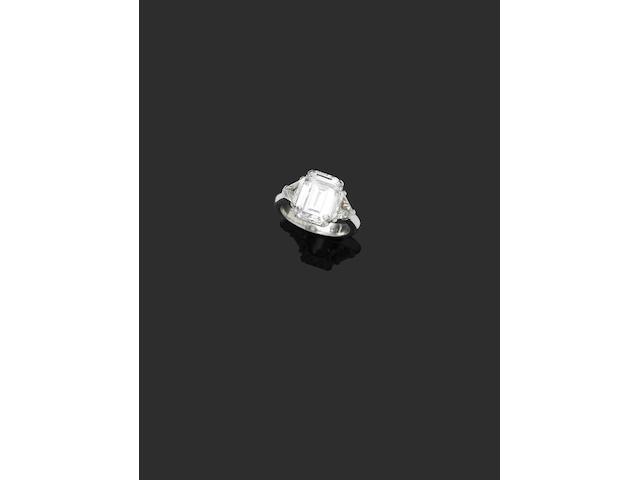 A 4.04 carat emerald cut diamond ring