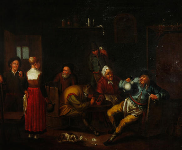 Flemish School, late 17th Century Topers smoking in a tavern