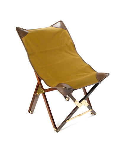 Two modern folding chairs Each its canvas carrying-bag with leather shoulder-strap