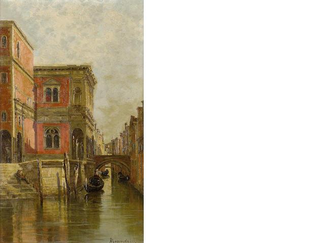 Antonietta Brandeis (Czechoslovakian, 1849-1910) Venetian gondola; A Venetian canal