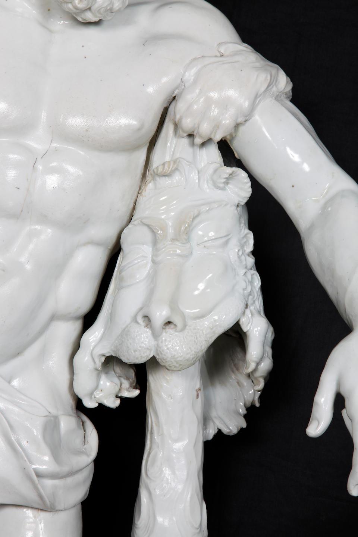 An important unrecorded large Doccia figure of the 'Farnese Hercules', circa 1745-55