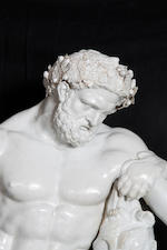 An important unrecorded large Doccia figure of the 'Farnese Hercules'
