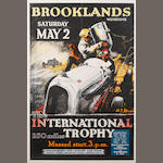 An original 1936 Brooklands International Trophy race poster,