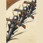 Sybil Andrews, CPE (British/Canadian, 1898-1993) Speedway Linocut, 1934, printed in raw sienna, venetian red, permanent blue, Chinese blue, on cream oriental laid, signed, dated and numbered 43/60 in pencil, 326 x 233mm (12 3/4 x 9 1/8in)(B)