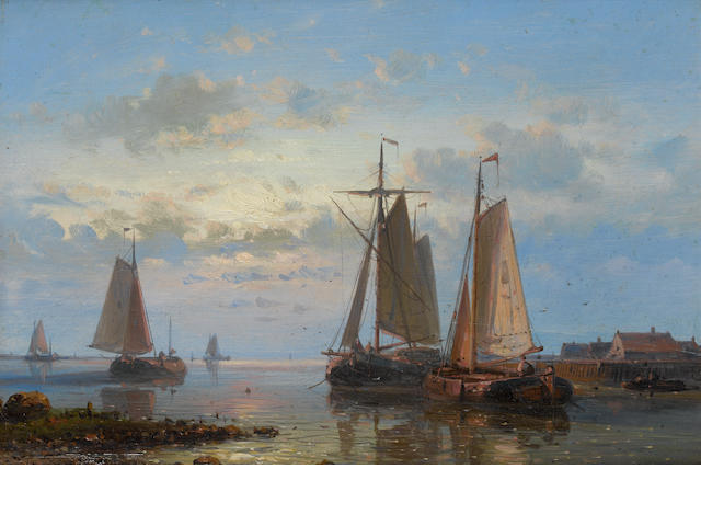 Abraham Hulk, Snr (Dutch, 1813-1897) Evening on the estuary
